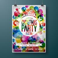 L'illustrazione della festa di Buon Natale con tipografia di festa progetta in palla di vetro astratta sul fondo brillante di colore.