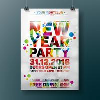 Illustrazione del manifesto di celebrazione del partito del nuovo anno con progettazione di tipografia su fondo variopinto brillante. Vettore ENV 10.