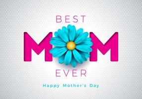 Illustrazione felice della cartolina d'auguri di giorno di madri con progettazione tipografica della mamma e del fiore su fondo bianco. Illustrazione vettoriale celebrazione