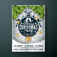 Vector Merry Christmas Party design con elementi di tipografia vacanza e stelle d'oro su fondo di legno dell'annata.