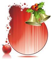 Illustrazione di Natale di vettore con agrifoglio e campane su sfondo rosso