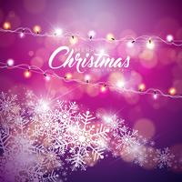 Illustrazione di buon Natale vettoriale su priorità bassa lucida del fiocco di neve con la ghirlanda di luce vacanza e tipografia.