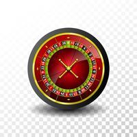 Illustrazione del casinò con la ruota di roulette su fondo trasparente. Disegno di gioco d'azzardo vettoriale per banner di invito o promo