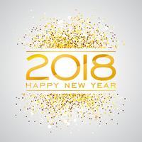 Illustrazione di sfondo di felice anno nuovo 2018 con numero di tipografia Glitter oro. Vector Holiday Design per Premium Greeting Card, Party Invitation o Promo Banner.