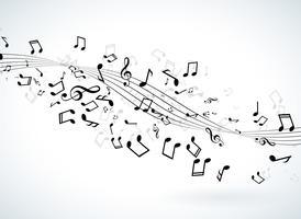 Illustrazione di musica con le note che cadono su sfondo bianco. Disegno vettoriale per banner, poster, cartolina d'auguri.