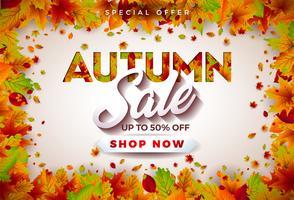 Progettazione di vendita di autunno con le foglie cadenti e iscrizione su fondo bianco. Illustrazione vettoriale autunnale con elementi di tipografia offerta speciale per coupon