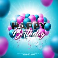 Disegno vettoriale di buon compleanno con palloncino, tipografia e 3d elemento su priorità bassa lucida del cielo blu. Illustrazione per la festa di compleanno. biglietti di auguri o poster.