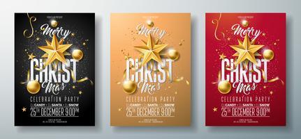 Illustrazione di vettore Merry Christmas Party Flyer con elementi tipografia vacanza e oro palla ornamentale, stella di carta del ritaglio su sfondo pulito.
