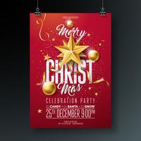 Illustrazione di volantino festa di buon Natale vettoriale con elementi di tipografia vacanza e palla ornamentale oro,
