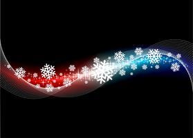 Illustrazione di Natale con i fiocchi di neve su brillantemente sfondo.