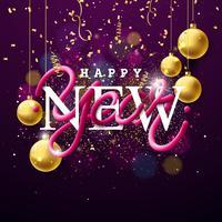 Felice anno nuovo illustrazione con intrecciato tubo tipografia design e oro ornamentale palla di vetro su sfondo lucido. Vector Holiday EPS 10 design.