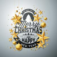 Vector l'illustrazione del nuovo anno e di Natale con le stelle della carta del ritaglio e di tipografia su fondo pulito. Progettazione di vacanze per biglietto di auguri, poster, banner.