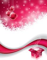 Vector design di Natale con scatola regalo magico e palla di vetro rosso su sfondo di fiocchi di neve.