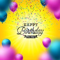 Buon compleanno disegno vettoriale con palloncino, tipografia e coriandoli che cadono su sfondo giallo lucido. Illustrazione per la festa di compleanno. biglietti di auguri o poster di festa.