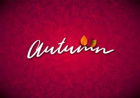 Illustrazione di autunno con foglie che cadono e tipografia scritta su sfondo rosso. Disegno vettoriale autunnale con Doodles disegnati a mano per biglietto di auguri