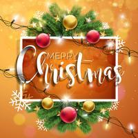 Illustrazione vettoriale di buon Natale su sfondo marrone con tipografia e Holiday Light Ghirlanda, ramo di pino, fiocchi di neve e palla ornamentale. Felice anno nuovo design.