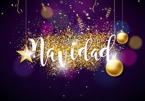 Illustrazione di Natale con spagnolo Feliz Navidad tipografia, palla di vetro, coriandoli, serpentina e stella di carta del ritaglio d'oro su sfondo viola lucido. Design creativo per biglietto di auguri o poster.