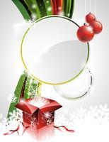 Vector l'illustrazione su un tema di Natale con il contenitore di regalo e gli elementi brillanti di festa