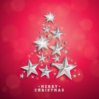 Vector l'illustrazione del nuovo anno e di Natale con l'albero di Natale fatto delle stelle di carta del ritaglio su fondo rosso. Progettazione di vacanze per biglietto di auguri, poster, banner.