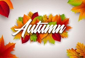 Illustrazione di autunno con foglie colorate e scritte su sfondo chiaro. Disegno vettoriale autunnale per Greeting Card, Banner, Flyer, Invito, brochure o poster promozionale.