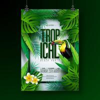 Vector estate tropicale Beach Party Flyer Design con Tucano, fiori e elementi tipografici su sfondo foglia esotica. Elementi floreali di natura estiva