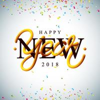Felice anno nuovo 2018 illustrazione con intrecciato tubo tipografia design e coriandoli colorati su sfondo bianco. Vector Holiday EPS 10 design.