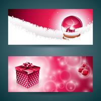 Vector l'illustrazione della bandiera di Buon Natale con il contenitore di regalo e il globo magico della neve su fondo rosso.