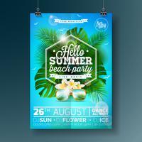 Progettazione di Flyer del partito della spiaggia di estate di vettore con progettazione tipografica sul fondo della natura