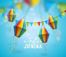 Illustrazione di Festa Junina con le bandiere del partito e lanterna di carta su fondo blu. Vector Brasile giugno Festival Design per Greeting Card, Invito o Holiday Poster.
