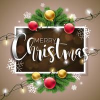 Illustrazione vettoriale di buon Natale su sfondo marrone con tipografia e Holiday Light Ghirlanda, ramo di pino, fiocchi di neve e palla ornamentale.