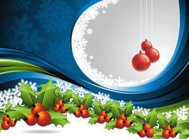 Disegno vettoriale di Natale con hollys su sfondo blu