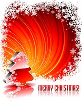 Vector l'illustrazione di festa con l'albero di Natale lucido 3d su fondo rosso.