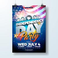 Independence Day degli Stati Uniti Party Flyer illustrazione con bandiera e nastro. Disegno vettoriale di quarto di luglio su sfondo scuro