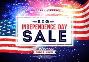 Quattro luglio. Progettazione dell'insegna di vendita di festa dell'indipendenza con la bandiera sul fondo del fuoco d'artificio. Illustrazione di vettore di festa nazionale degli Stati Uniti con gli elementi di tipografia di offerta speciale