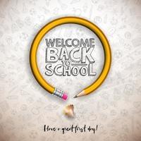 Torna a scuola design con grafite matita e tipografia scritta su sfondo bianco bordo. Illustrazione di scuola vettoriale con disegnati a mano doodles per saluto auto