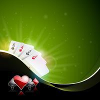 Illustrazione vettoriale su un tema del casinò con il colore giocando a fiches e carte da poker