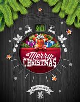 Vector Buon Natale vacanze e felice anno nuovo illustrazione con design tipografico e fiocchi di neve su fondo di legno dell'annata.
