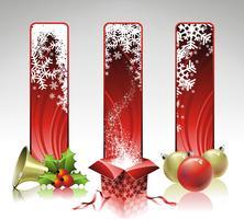 Illustrazione di Natale di vettore con tre banner verticale.