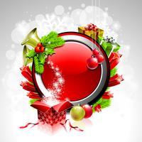 Illustrazione di Natale con scatola regalo su sfondo rosso vettore