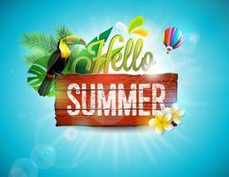 Vector l'illustrazione tipografica di vacanza estiva di ciao con l'uccello del tucano su fondo di legno d'annata. Piante tropicali, fiore e mongolfiera con cielo blu. Modello di progettazione per banner