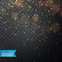 Illustrazione dorata delle luci di Natale su un fondo trasparente scuro. EPS 10 disegno vettoriale.