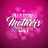 Cartolina d'auguri felice di giorno di madri con il focolare su fondo rosa. Modello di illustrazione celebrazione vettoriale con design tipografico per banner, flyer, invito, brochure, poster.