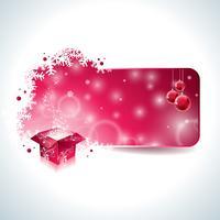 Vector Design di Natale con scatola regalo magico e palla di vetro rosso su sfondo chiaro.