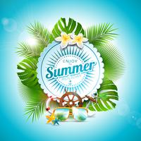 Il vettore gode dell'illustrazione tipografica di vacanza estiva sul distintivo bianco e sul fondo delle piante tropicali. Fiore, occhiali da sole ed elementi marini con cielo blu. Modello di progettazione per banner