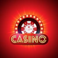 Illustrazione del casinò con la lettera al neon e giocare a chip su sfondo rosso. Disegno di gioco d'azzardo vettoriale con display luminoso di illuminazione per banner di invito o promo.
