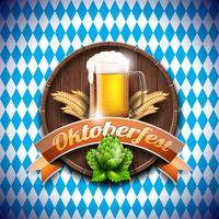 Illustrazione vettoriale Oktoberfest con birra chiara fresca su sfondo bianco blu. Banner di celebrazione per il tradizionale festival della birra tedesca.
