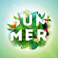 L'illustrazione dell'estate con l'uccello del tucano ed i becchi dei pappagalli fioriscono su fondo tropicale. Foglie esotiche con elemento tipografia vacanza. Modello di disegno vettoriale