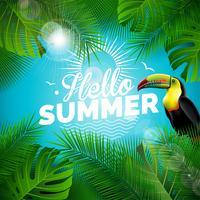 Vector l'illustrazione tipografica di vacanza estiva di ciao con l'uccello del tucano e le piante tropicali su fondo blu. Modello di progettazione con foglia di palma verde per banner