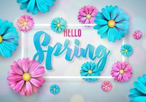 Disegno di natura primavera con bel fiore colorato su sfondo pulito