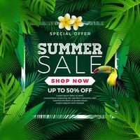 Progettazione di saldi estivi con fiore, Tucano e foglie esotiche su sfondo verde. Illustrazione floreale tropicale di vettore con gli elementi di tipografia di offerta speciale per il buono